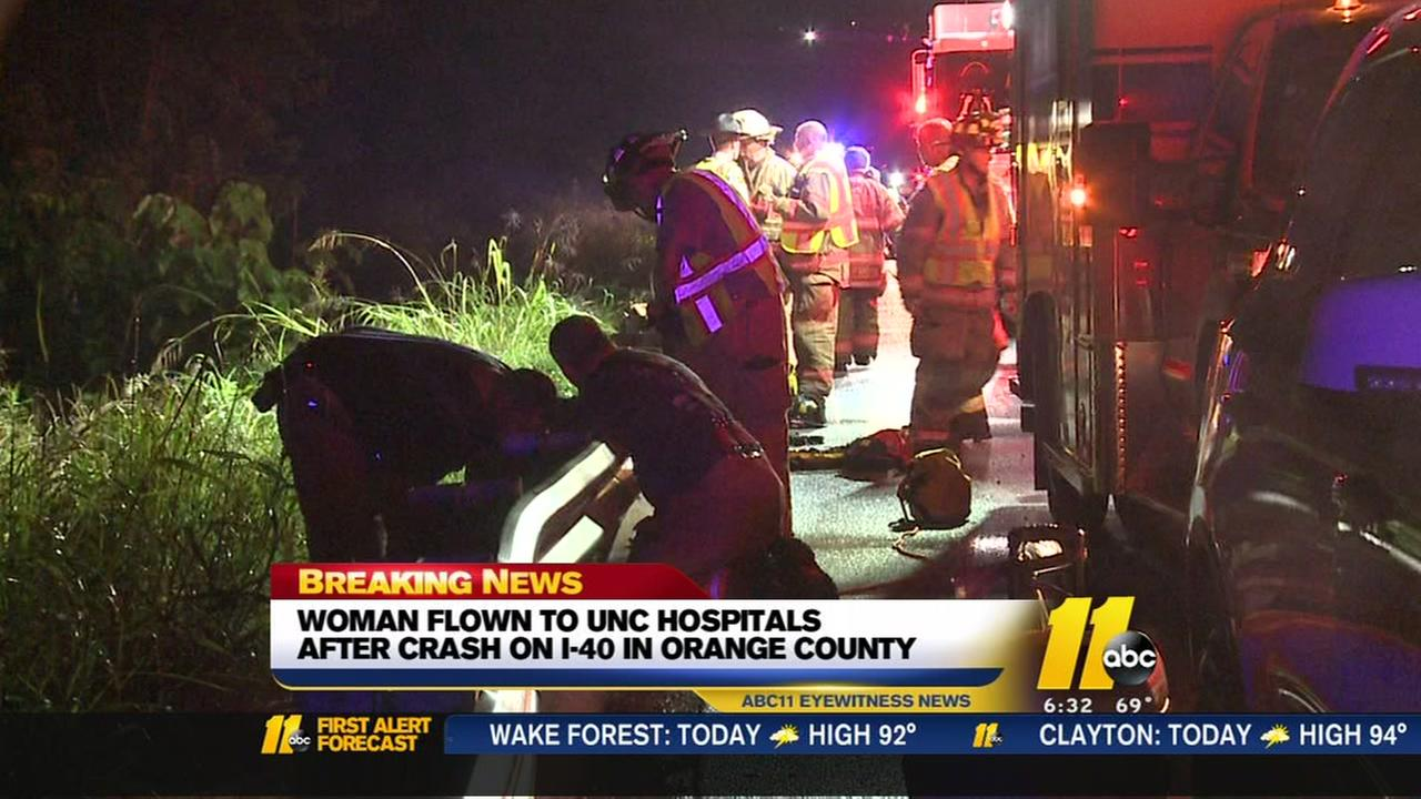 Woman flown to hospital after crash on I-40