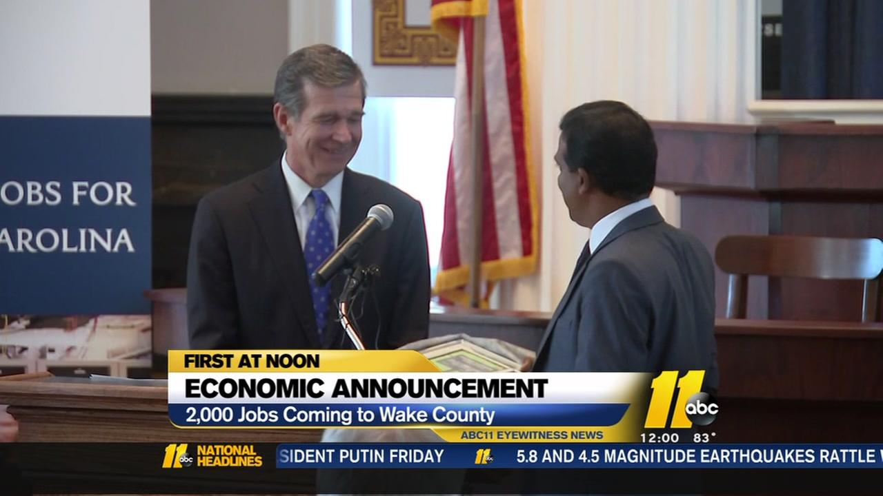 2,000 jobs coming to Wake County