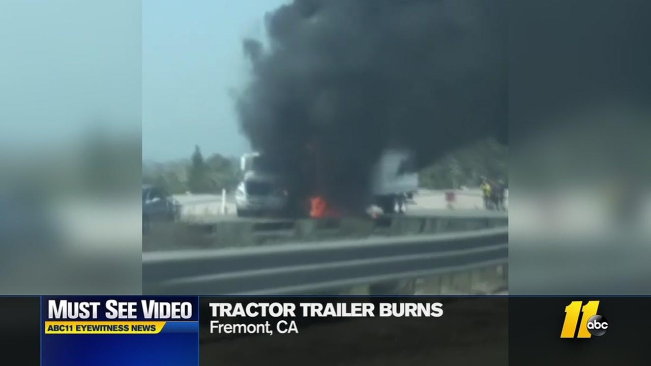 Truck burns on interstate