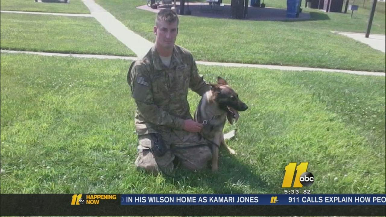 Army Specialist Brent Grommet and his dog were separated.