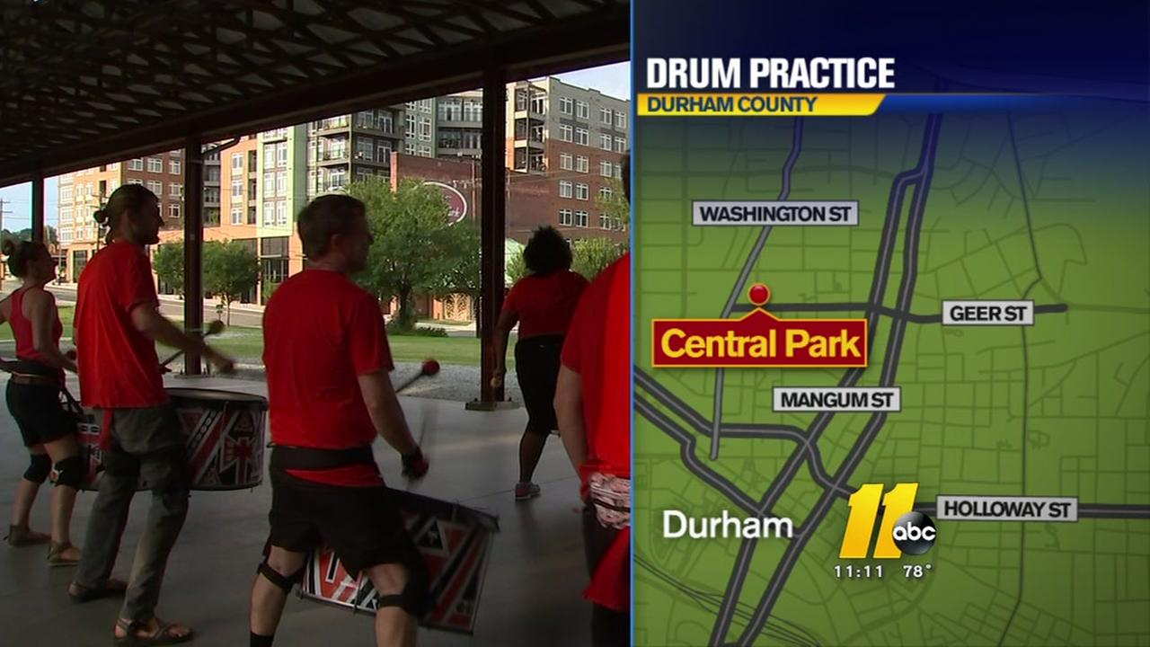 Drum practice resonates in downtown Durham