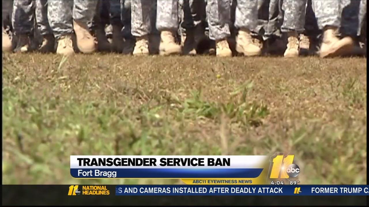 Reaction at Fort Bragg to transgender service ban.