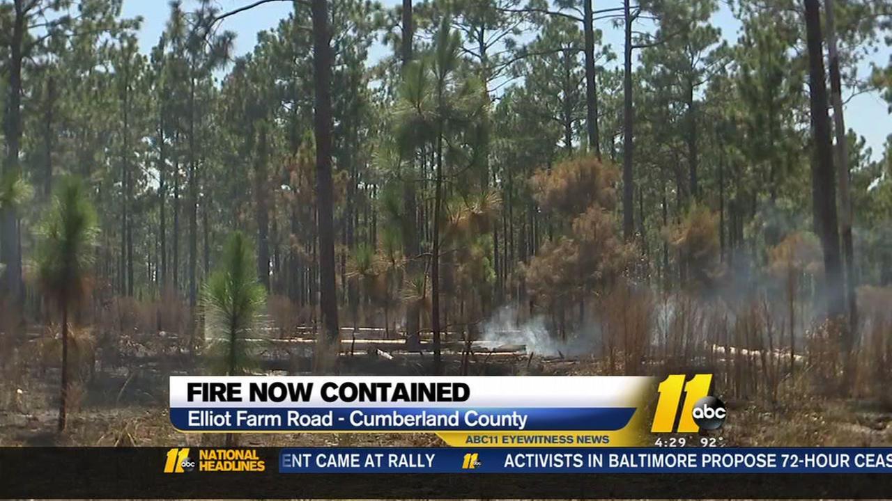 Wood fire burns in Cumberland County