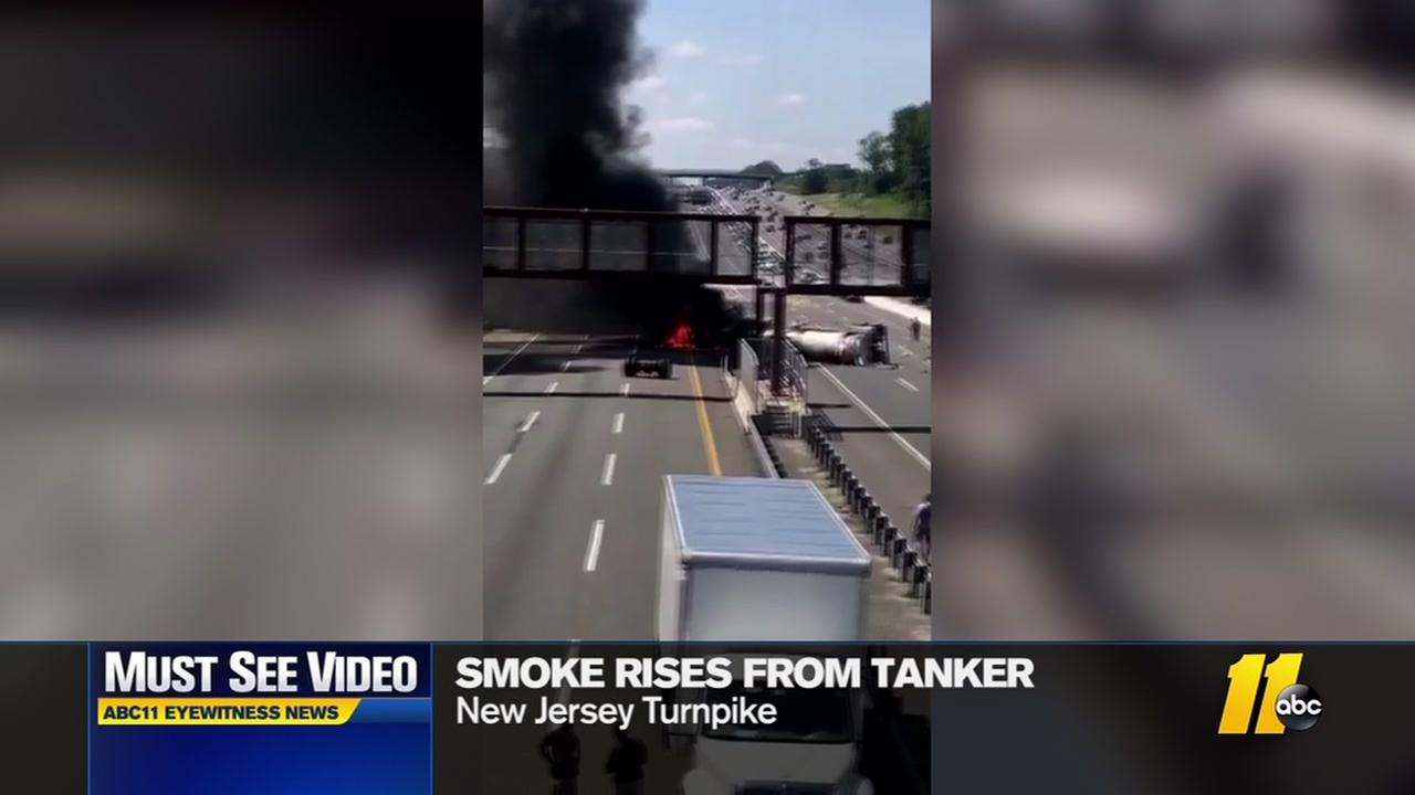 Tanker burns on NJ Turnpike