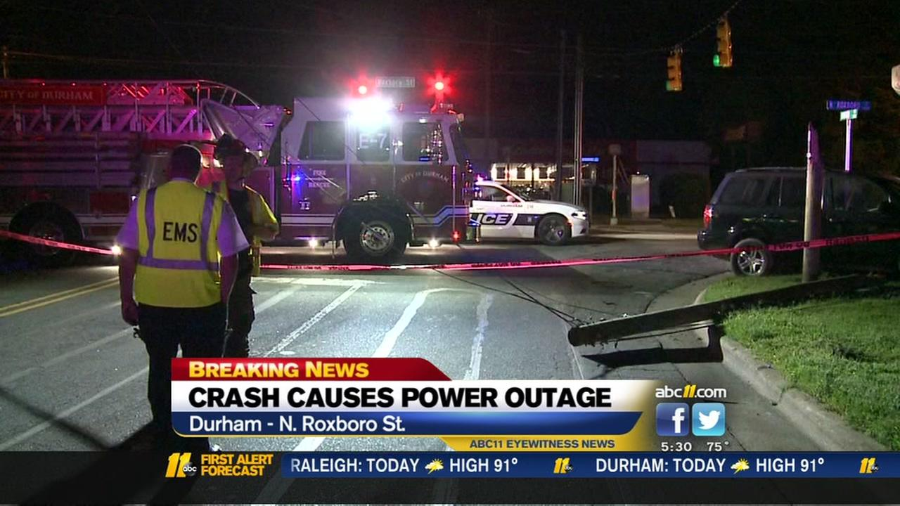 Crash damages utility poles, knocks out power in Durham
