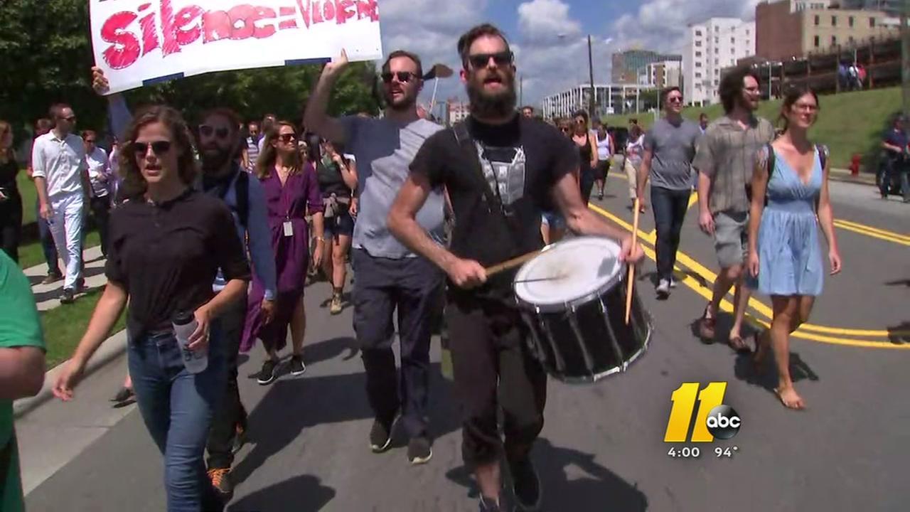 Rumor of KKK march brings out Durham protestors