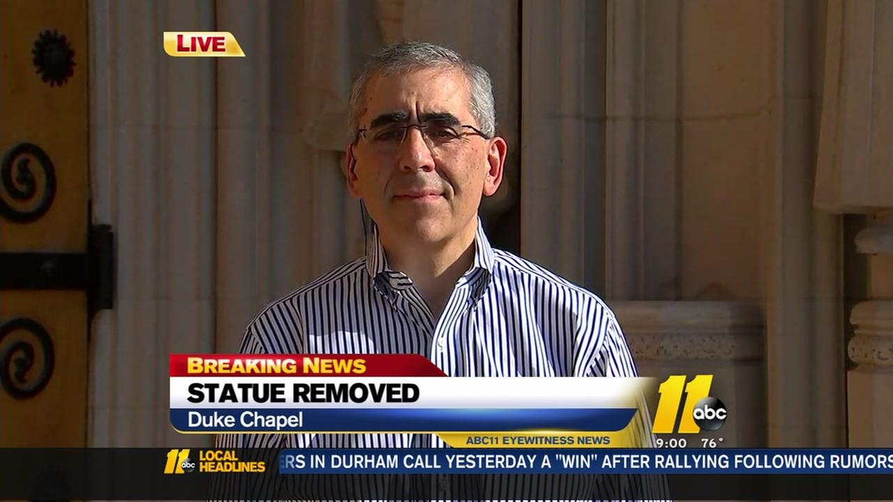 ABC11 interviews Duke University about the removal