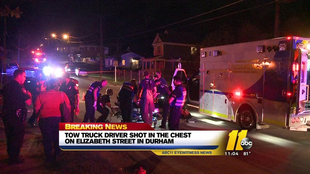 Durham tow-truck driver shot