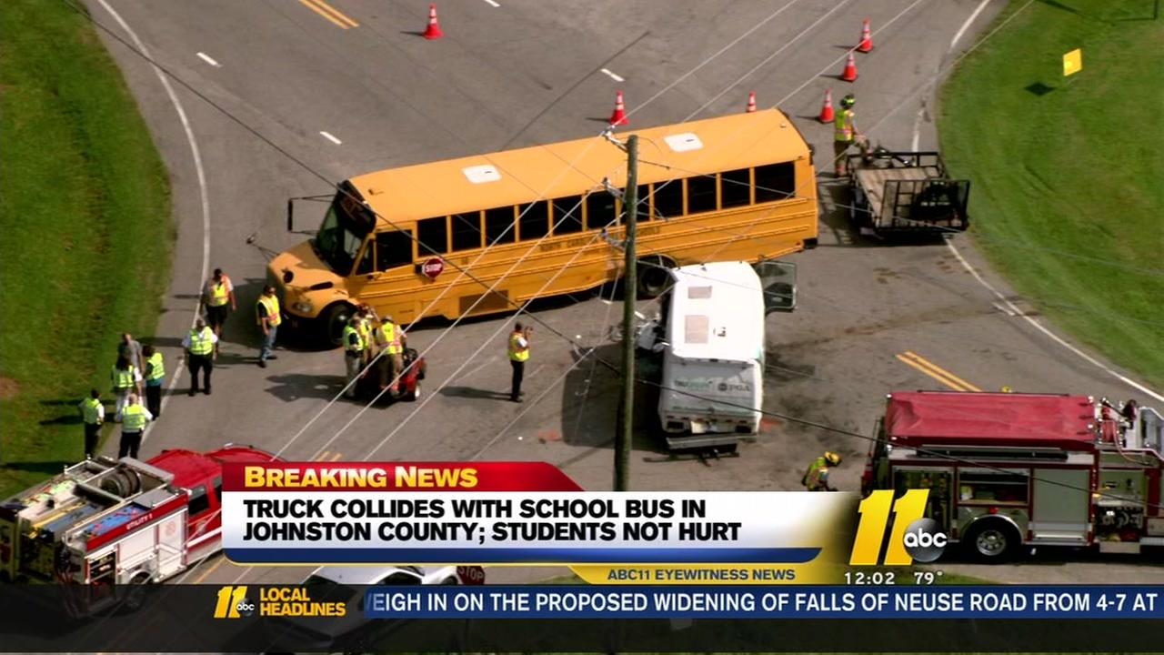 Truck collides with school bus in Johnston County