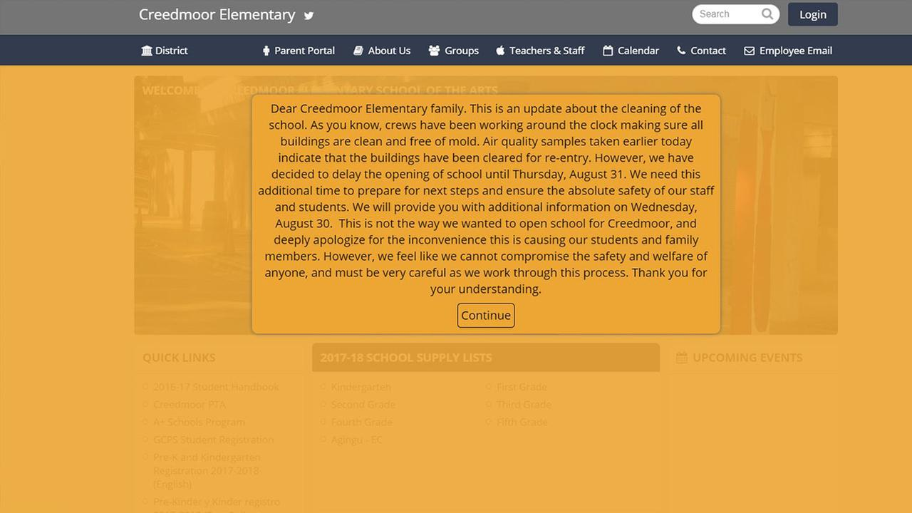 This message is displayed on Creedmoor Elementary Schools website
