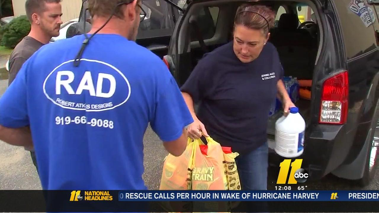 Gathering supplies for Harvey victims