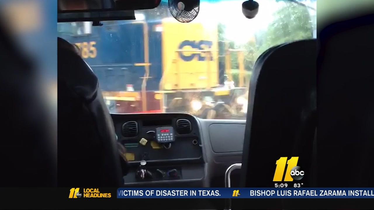 Close call for WCPSS school bus at railroad crossing