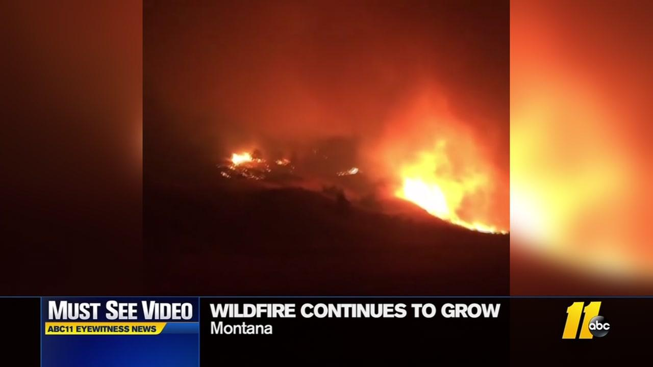 Wildfire continues in grow in Montana