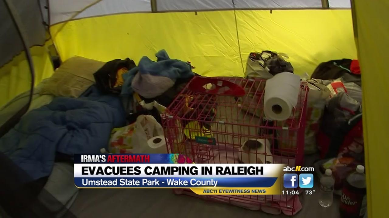 Evacuees camping in Raleigh