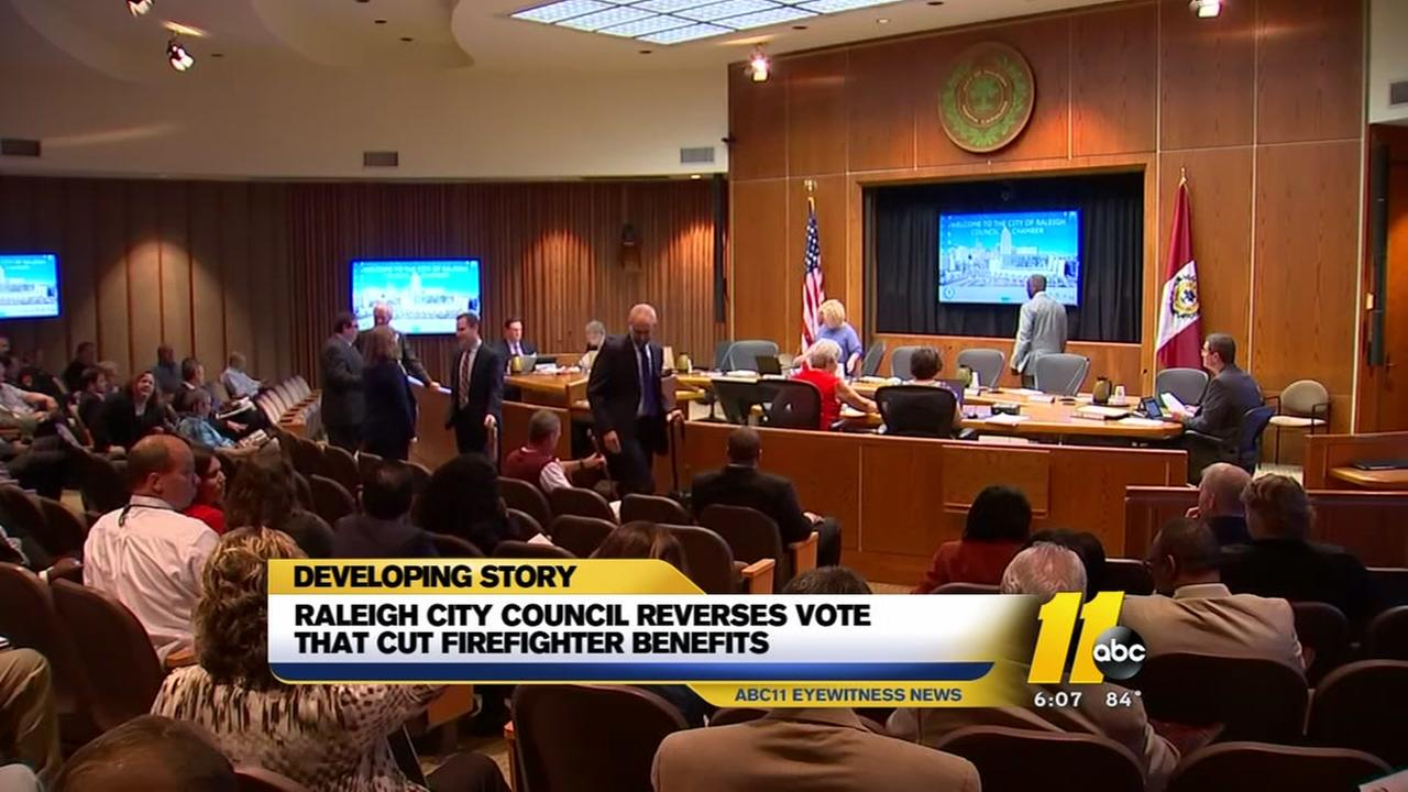 Raleigh City Council reverses vote that cut firefighter benefits