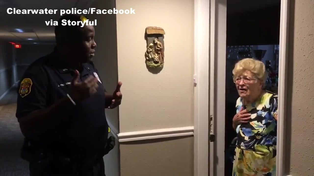 Grandma smitten by cops who bring hurricane supplies