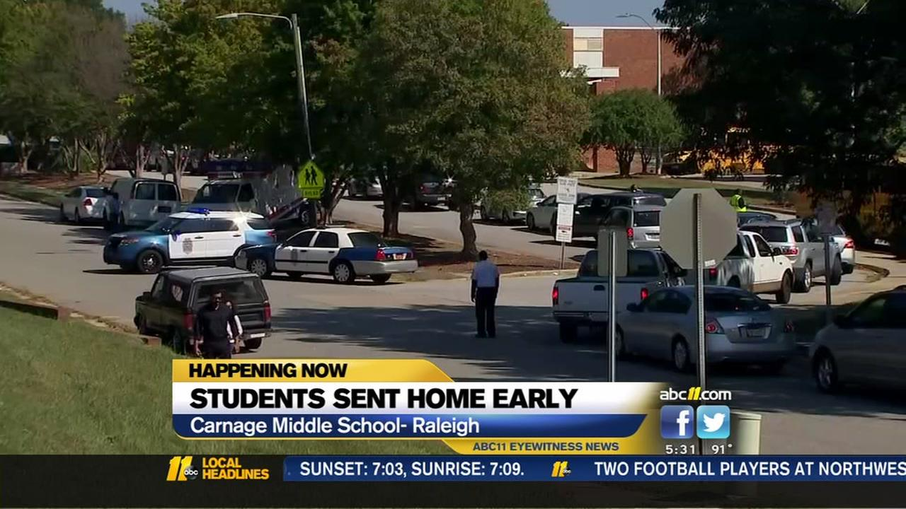 Students sent home early from Raleigh middle school after fire extinguisher bursts