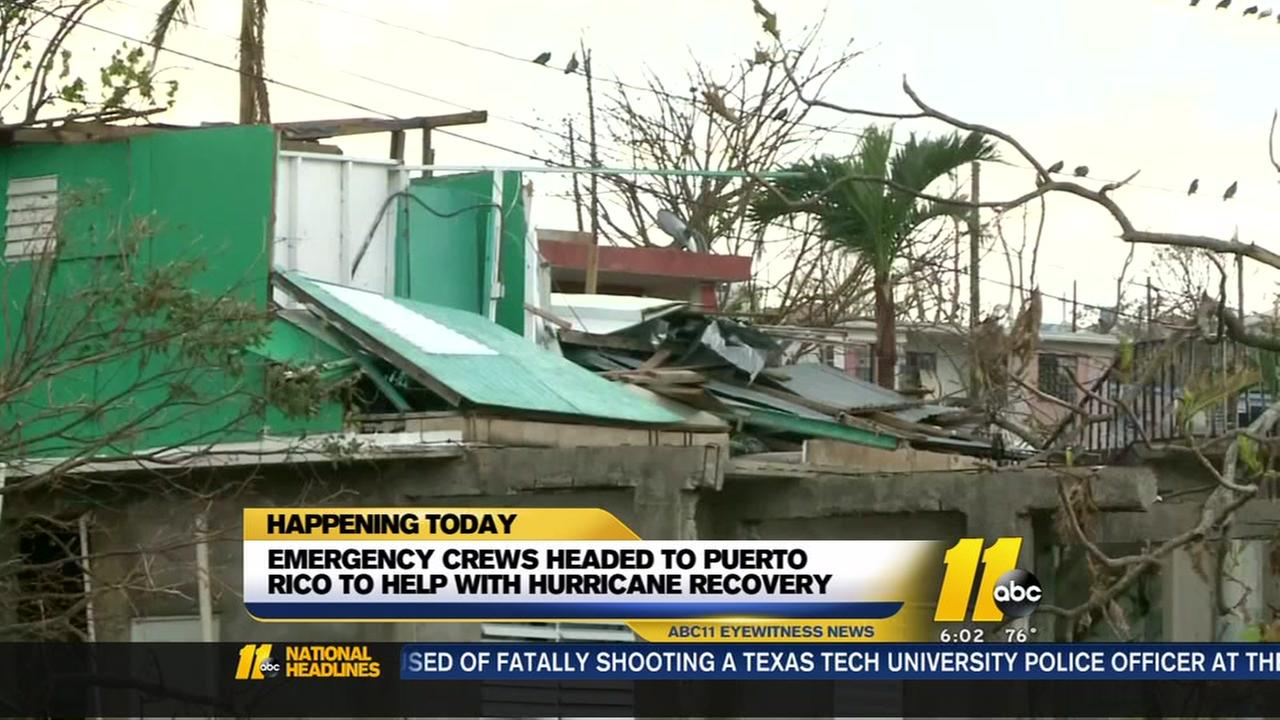 Emergency crews headed to Puerto Rico to help with hurricane recovery