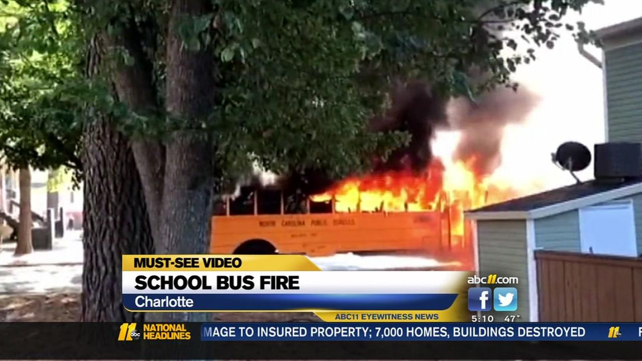 16 high school students, driver escape school bus fire