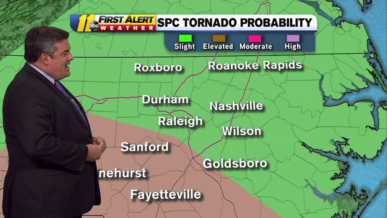 Risk for severe weather today, threat of isolated tornado