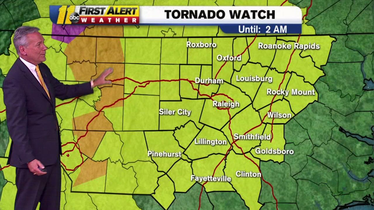 A tornado watch is in effect for much of the ABC11 viewing area until 2 a.m.