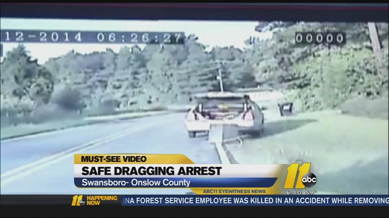 Dash cam video shows safe dragging behind car