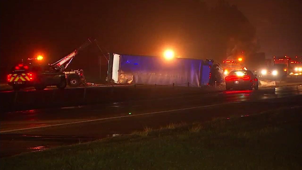 Box truck flips on I-40 in Johnston County