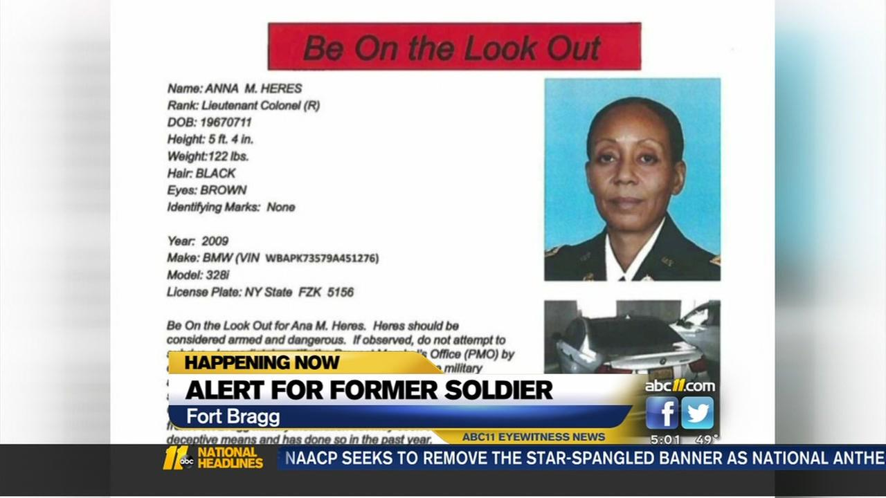 Former Fort Bragg lieutenant colonel armed and dangerous