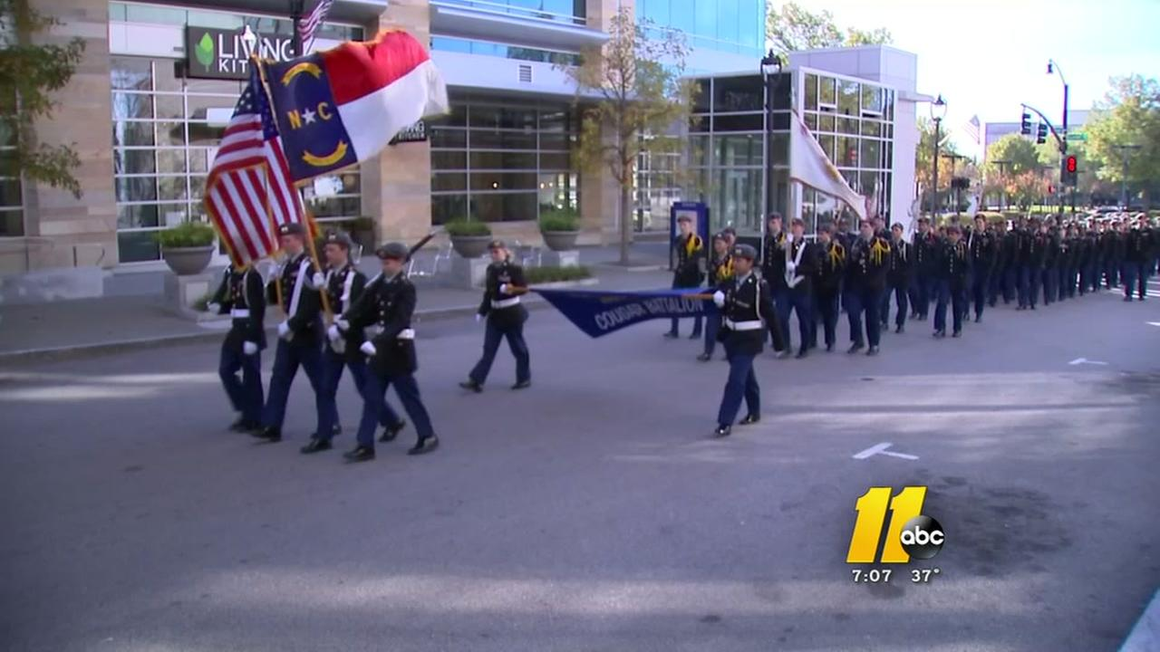 Big chill affects turnout for Raleigh Veterans Day parade