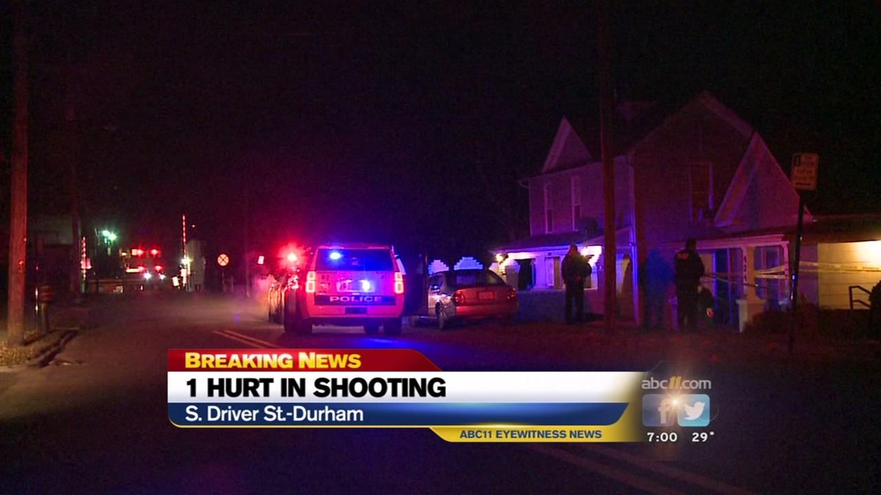 Police are searching for a suspect after a man was shot in Durham.