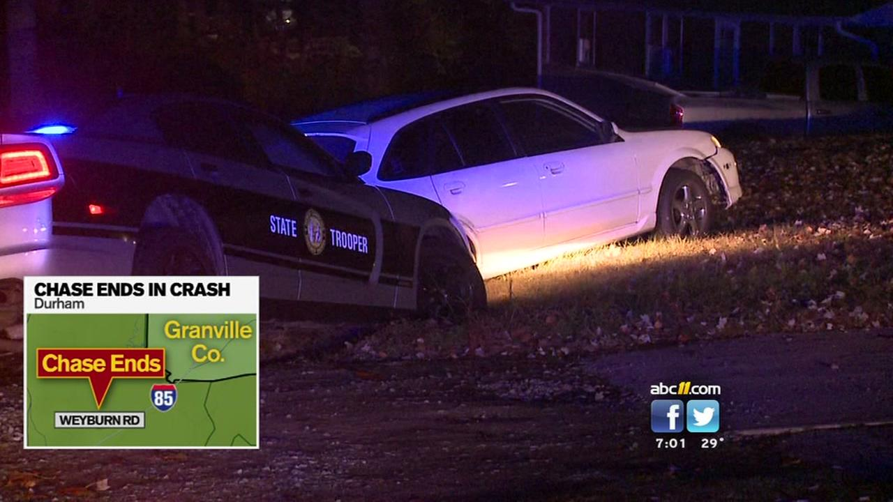 Police chase after a person in Granville County.