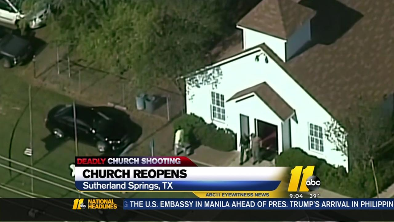 Texas church members gather for the first time after the shooting occured.