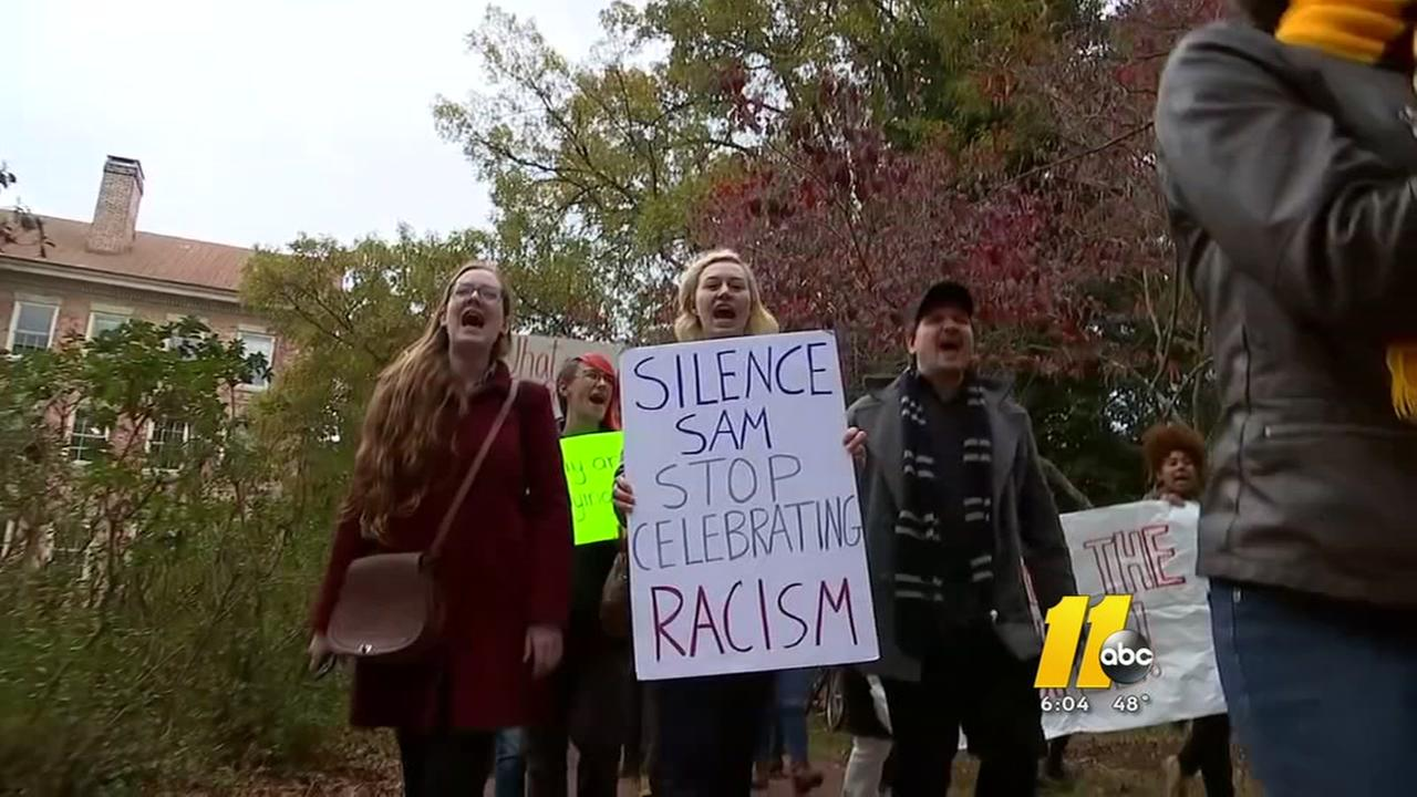 Protesters renew calls against UNCs Silent Sam statue