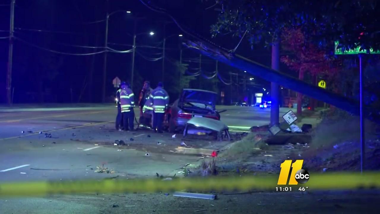 Driver takes down numerous power poles