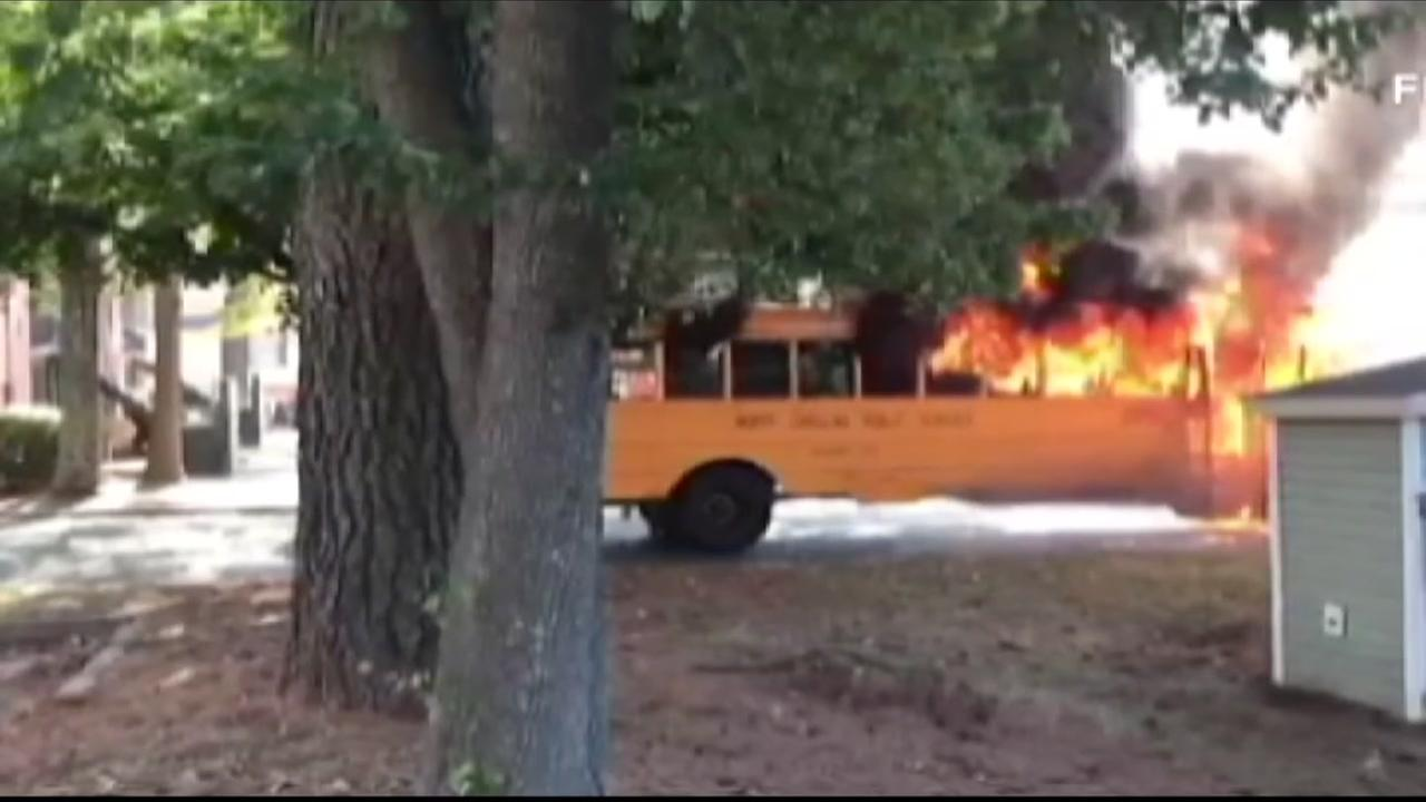 Two buses caught fire in the Charlotte-Mecklenburg School District.