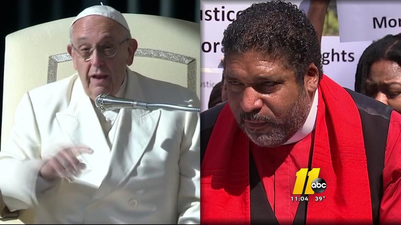 The Rev. William Barber is traveling to meet Pope Francis
