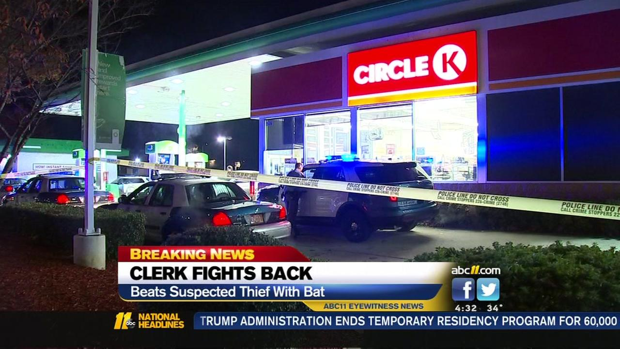 Raleigh clerk beats robbery suspect with bat