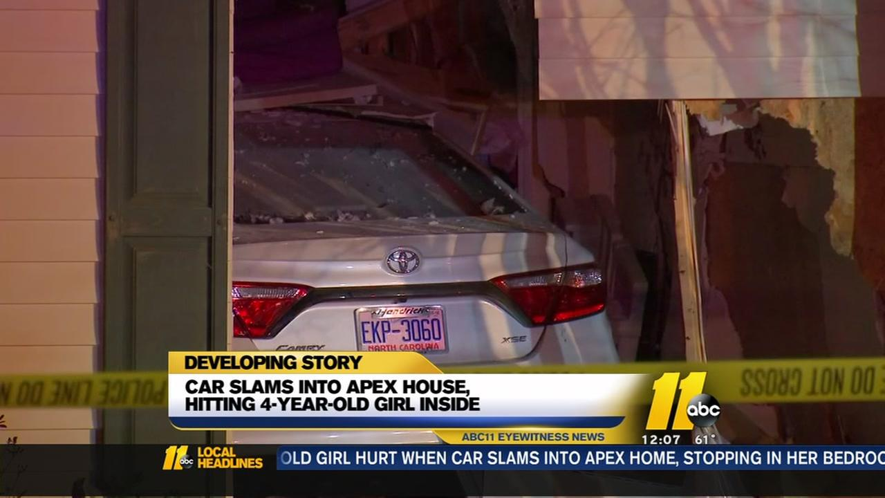 NC girl hurt after car crashes into home, displaces family