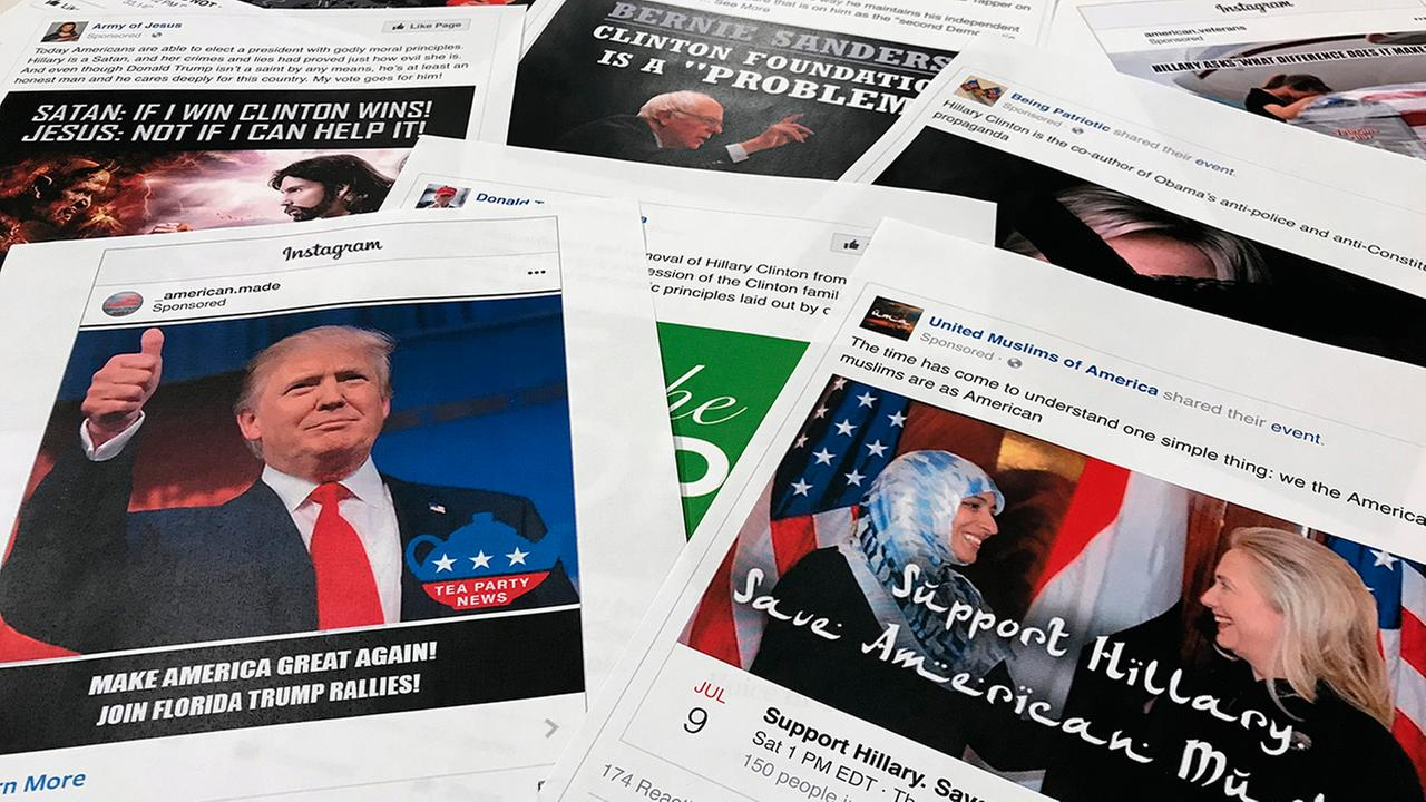 Some of the social media ads linked to a Russian effort to disrupt American politics and stir up tensions around social issues, released by Congress, are seen Nov. 1. generic russia facebook