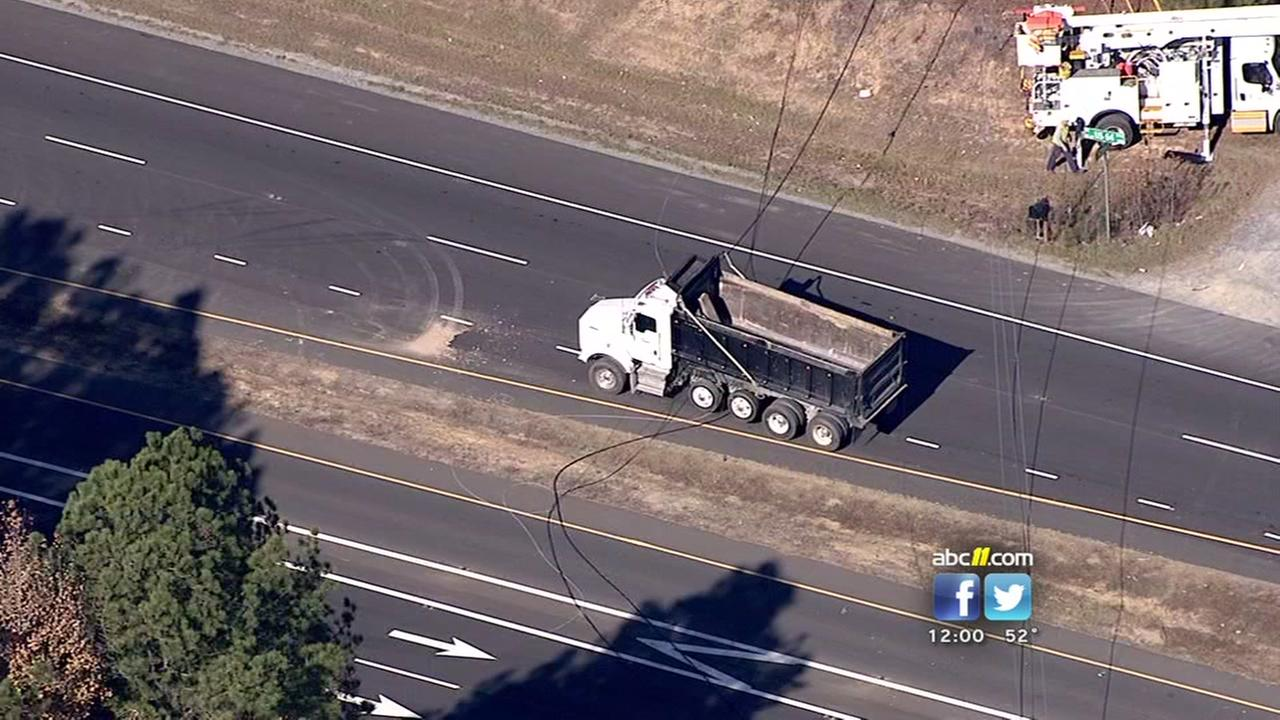 Downed power line closes US- 64 in Wake County