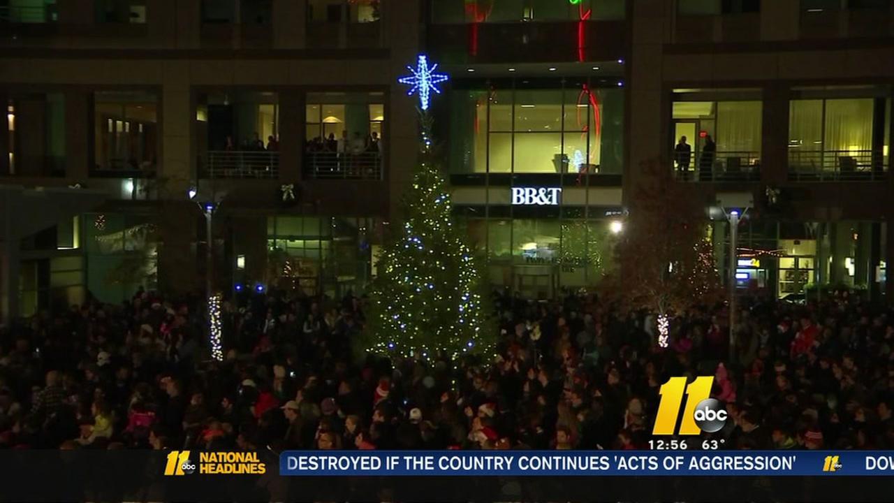 downtown raleigh christmas tree lighting saturday night