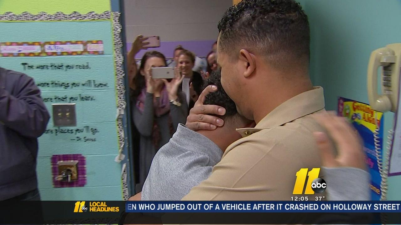 Navy Sailor surprises brother at Wake County school