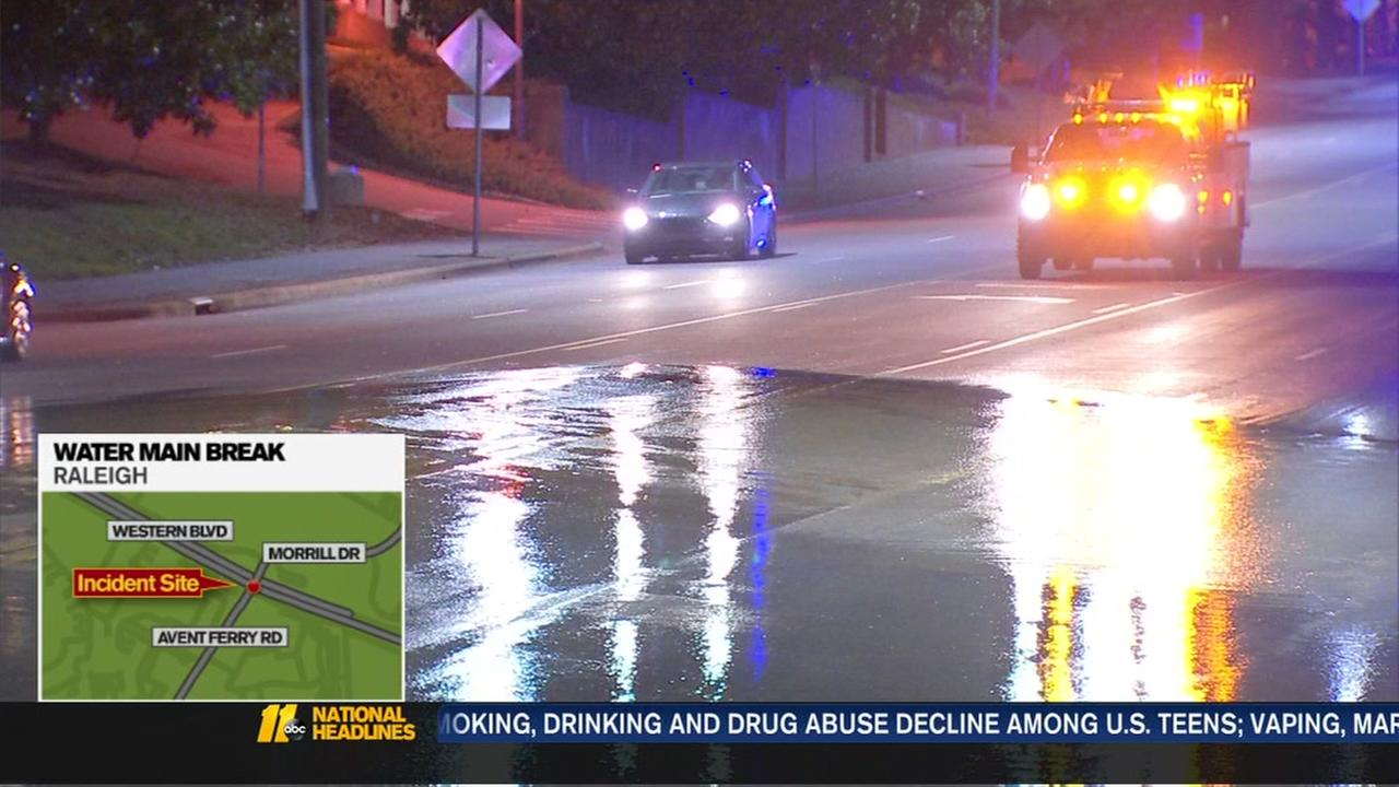 Water main break in Raleigh