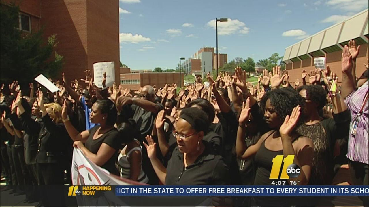 NCCU marks Browns funeral with Hands Up rally
