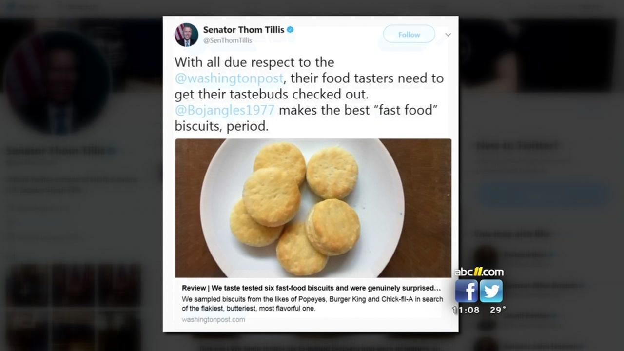 Sen. Thom Tillis chastises newspapers biscuit ratings