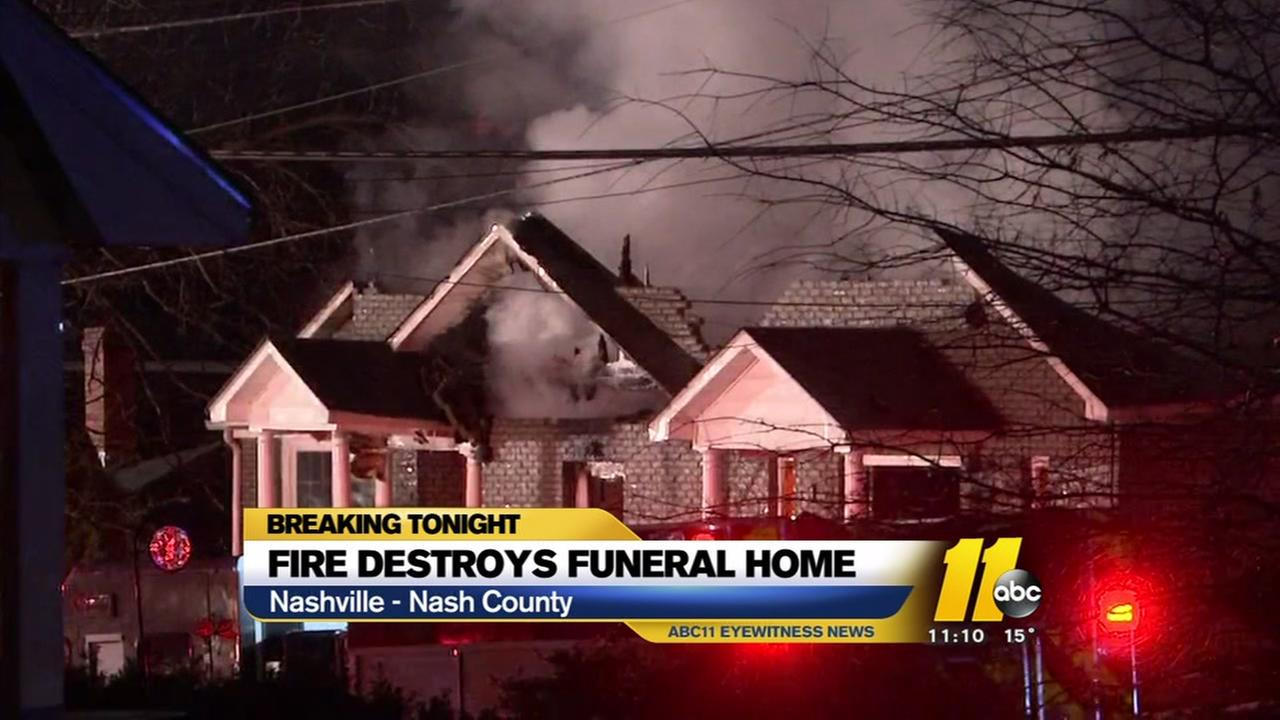 Fire destroys Nash County funeral home