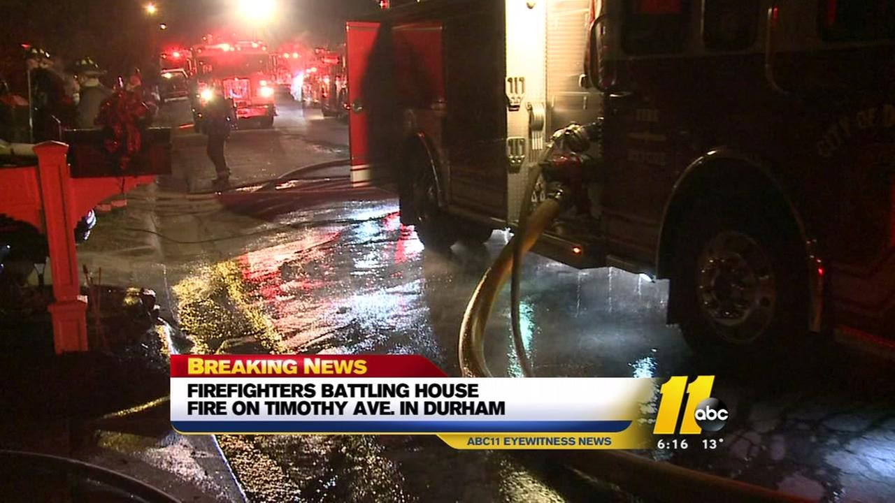 Durham firefighters battle stubborn house fire