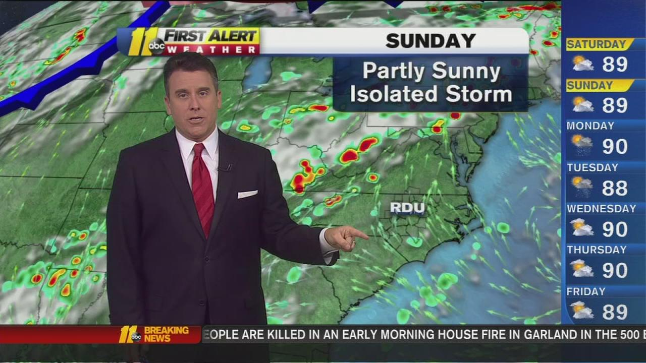 Chance of isolated storms Sunday