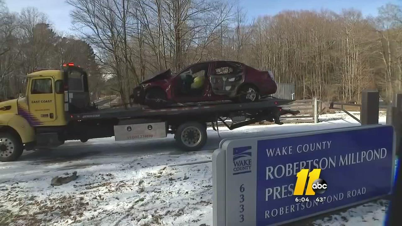 Wendell woman dies when car flips into icy pond