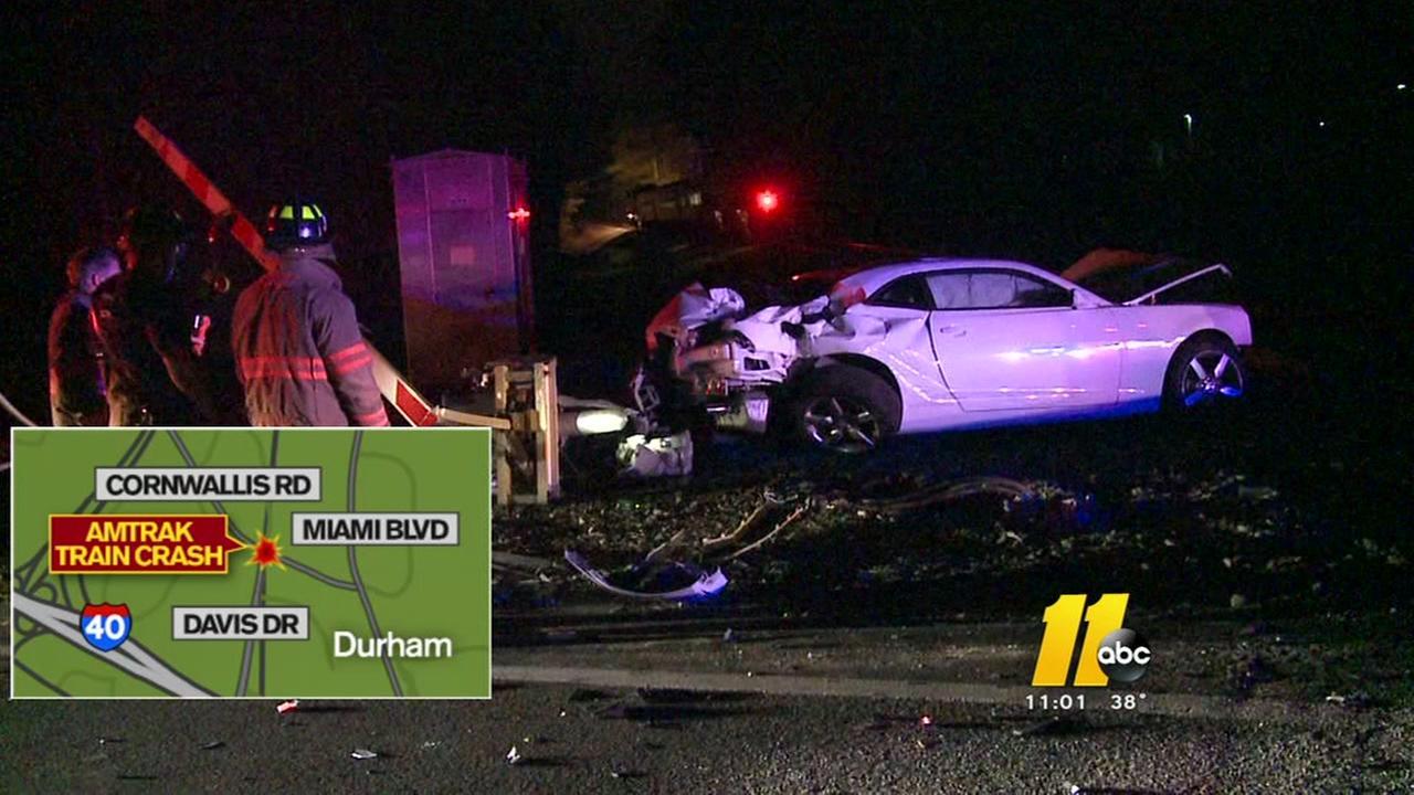 Amtrak train smashes car in Durham
